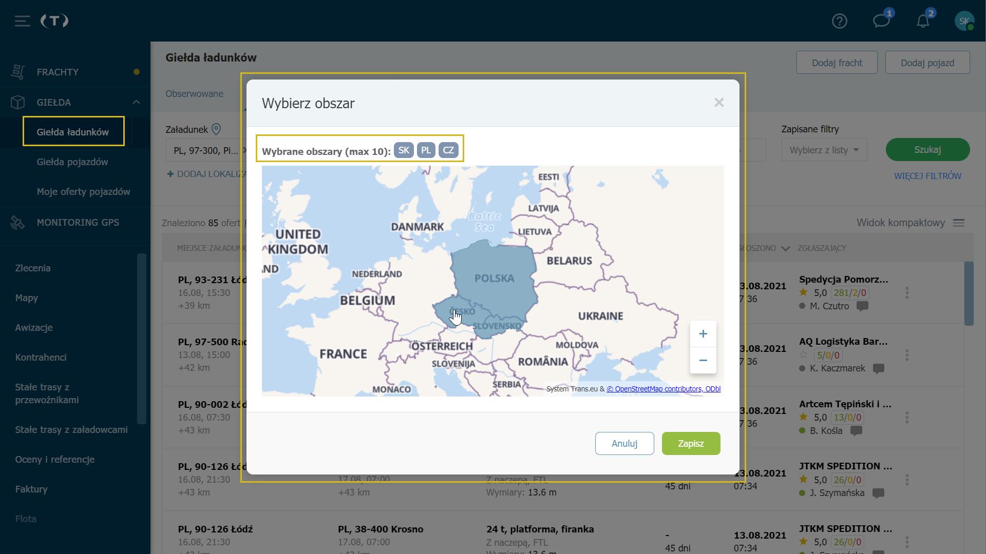 Wybierz kraje na mapie kliknięciem