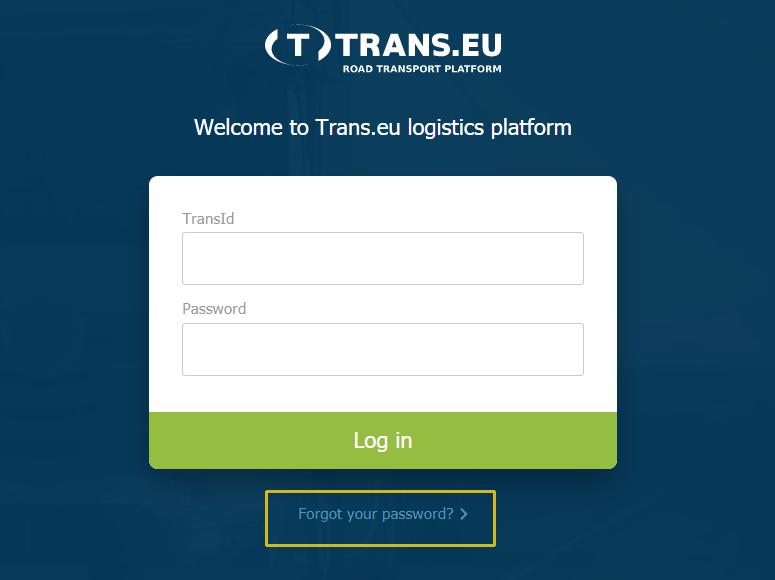 logowanie do nowej Platformy logistycznej Trans.eu